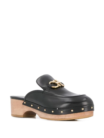 Cleome Embellished Leather Mules In Black