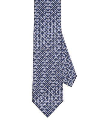 Pure silk tie with Gancini pattern
