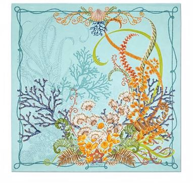 Atlantis printed silk scarf