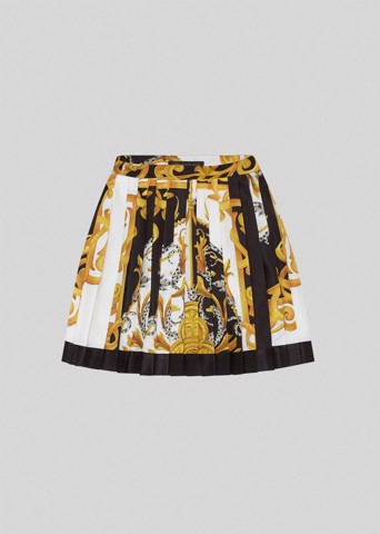 Acanthus Print Pleated Silk Mini Skirt