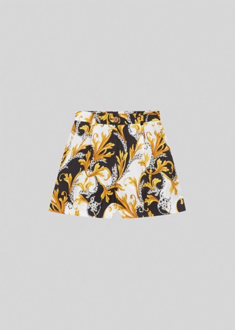 Acanthus Print Silk Twill Shorts