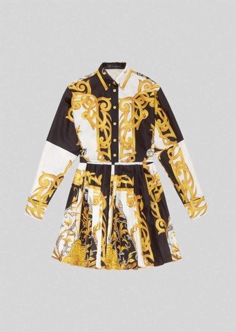 Barocco Acanthus Print Mini Shirt Dress