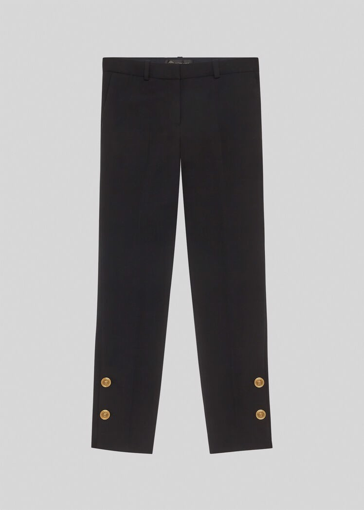 Medusa Button Wool Trousers