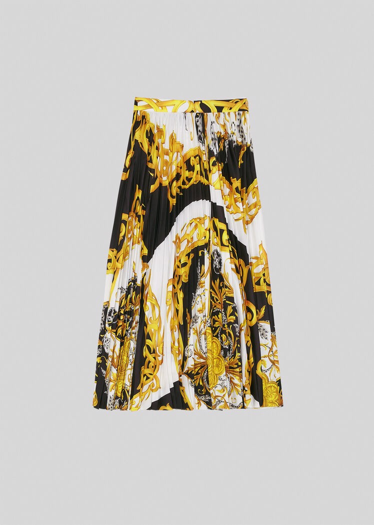 Barocco Acanthus Print Pleated Midi Skirt