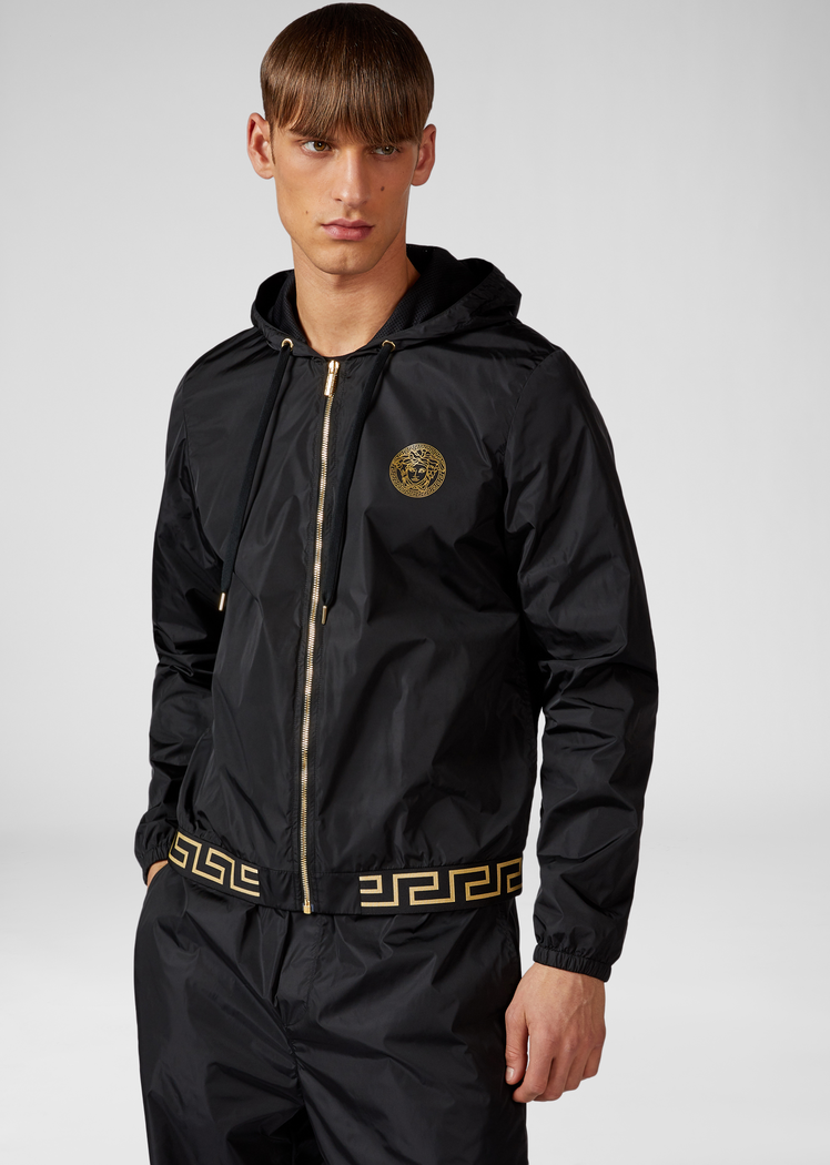 GREEK KEY AND LOGO GYM JACKET