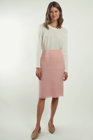 Beige tweed pencil skirt - MARIATA ROSE