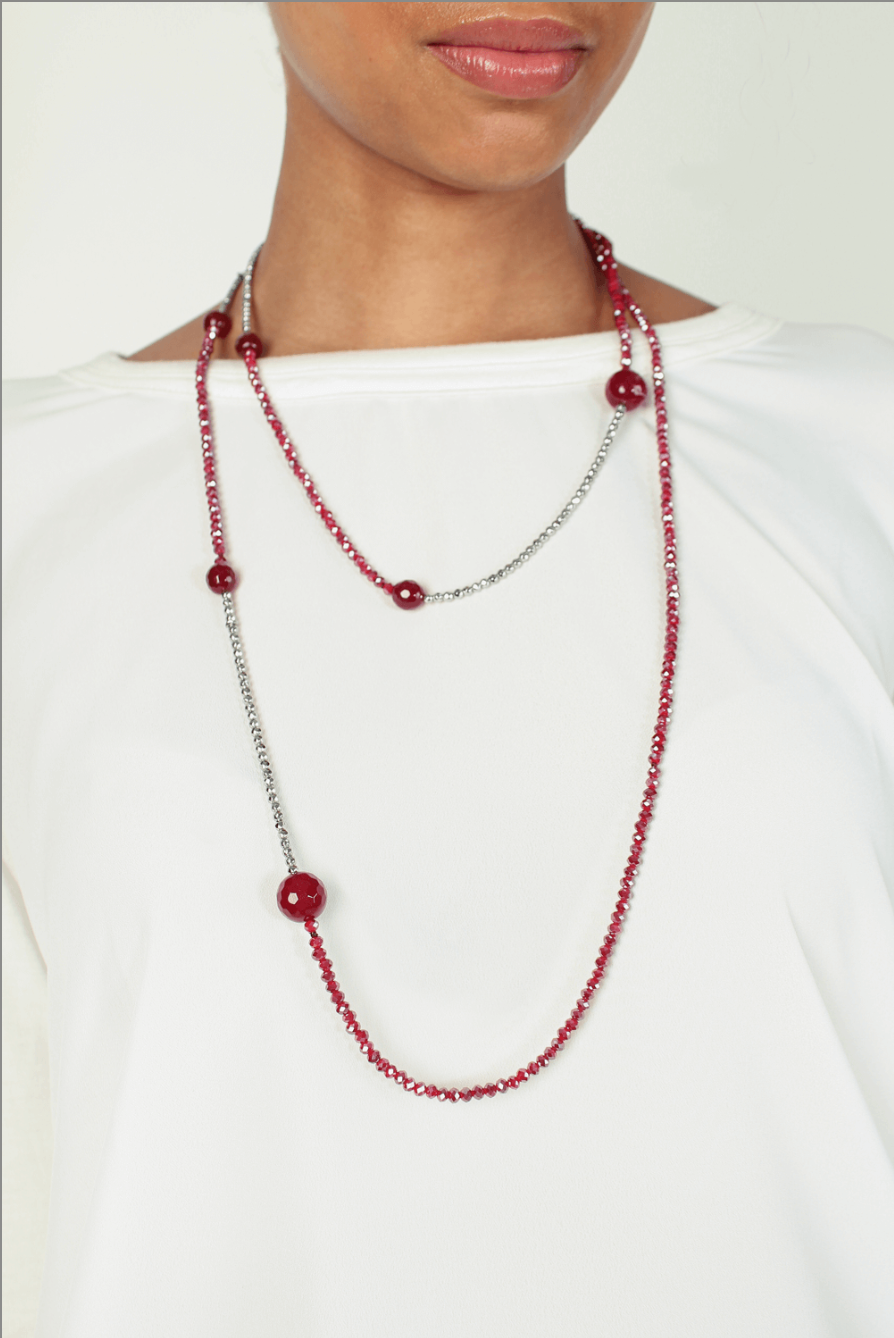 Long double-strand beaded necklace - MABELI ROUGE