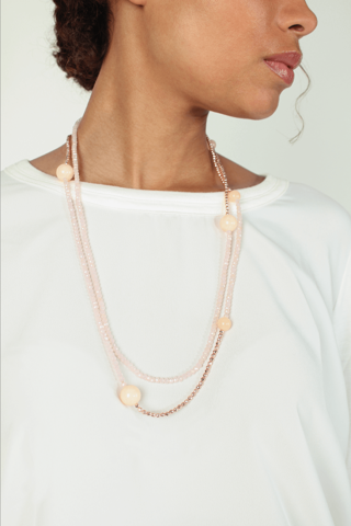 Long double-strand beaded necklace - MABELI NUDE