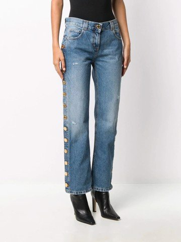 Low-Rise Side Button Straight Jeans