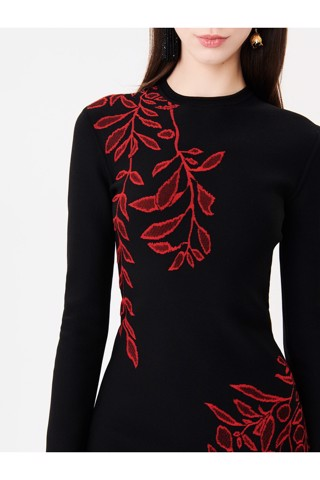 Branch Jacquard Knit Dress