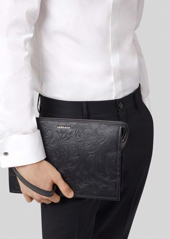 Barocco Embossed Leather Pouch