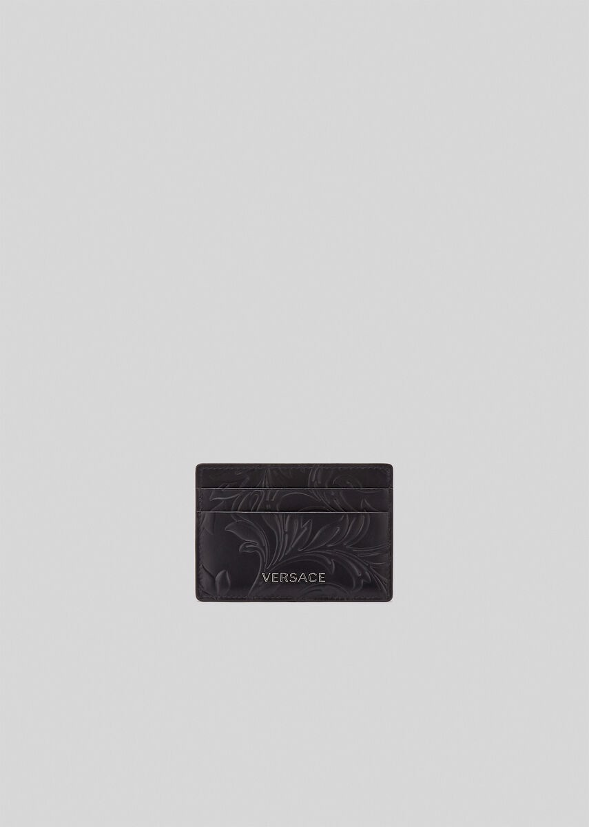 Barocco Embossed Leather Card Case