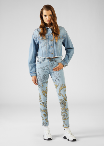 INK AND GOLD BAROQUE PRINT SKINNY JEANS