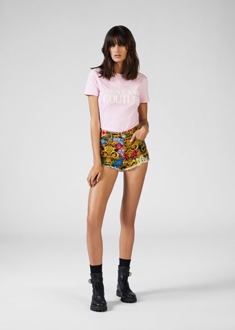 TROPICAL BAROQUE PRINT DENIM SHORTS