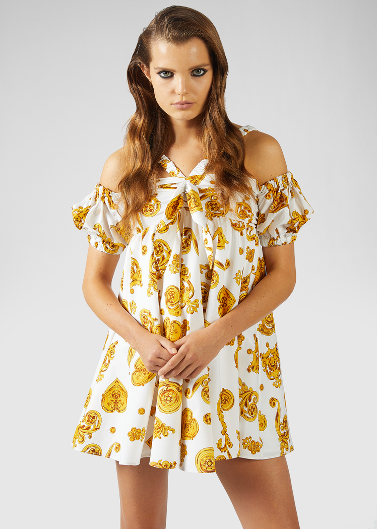GOLD BAROQUE PRINT MINI-DRESS