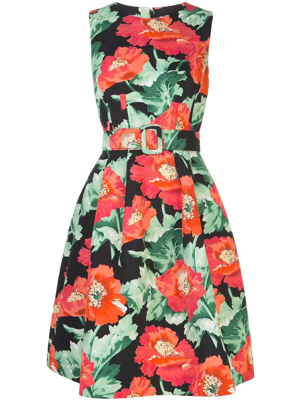 Poppies Faille Short Dress