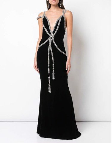 EMB BLACK VELVET GOWN