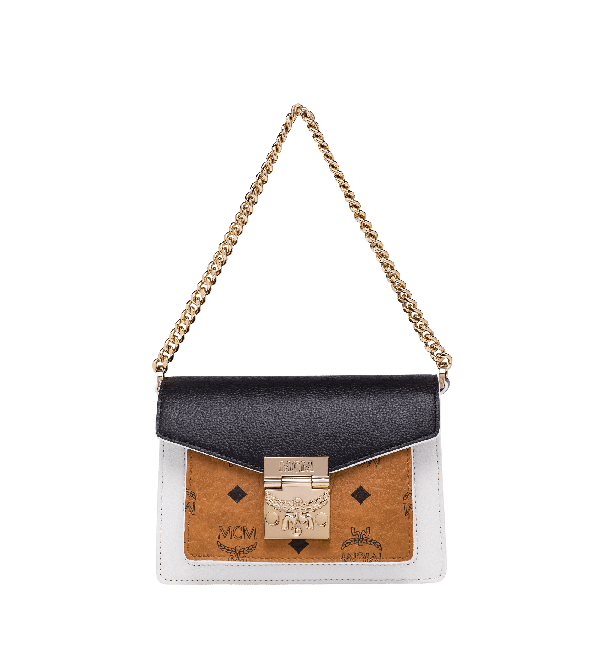 Patricia Crossbody In Visetos Leather Block In Cognac & Black