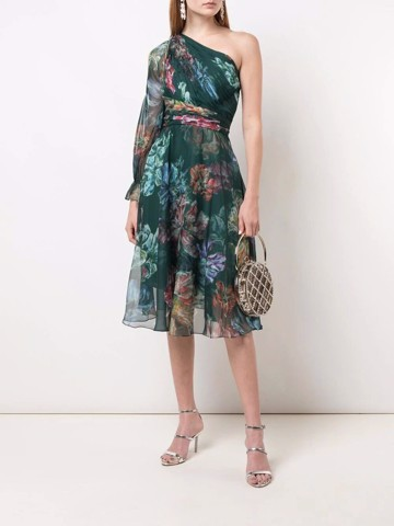 One shoulder printed chiffon and charmeuse cocktail dress
