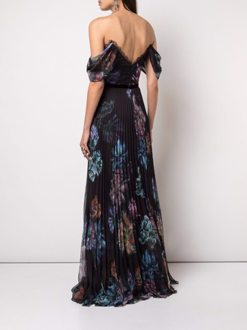 Off the shoulder printed chiffon and charmeuse gown