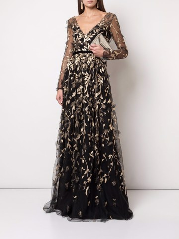 ¾ sleeve v-neck metallic embroidered gown