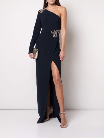 One-shoulder long sleeve stretch crepe gown