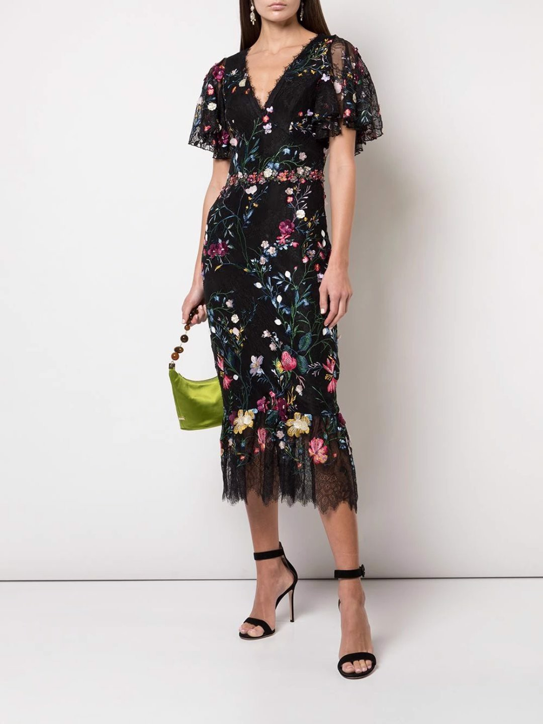 Flutter sleeve v-neck embroidered lace cocktail dress