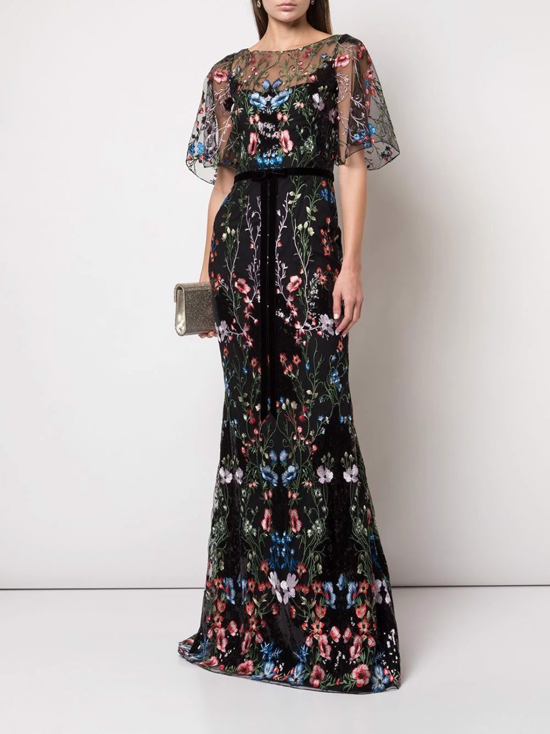 Cape sleeve multi-colored sequin embroidered gown