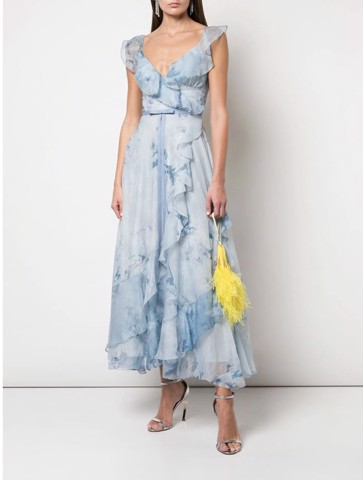 Strapless v-neck printed chiffon tea-length gown