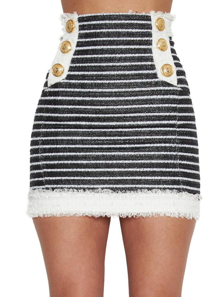 SHORT BUTTON STRIPED TWEED INSERT SKIRT