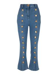 CROPPED DENIM PANTS WITH BUTTONS