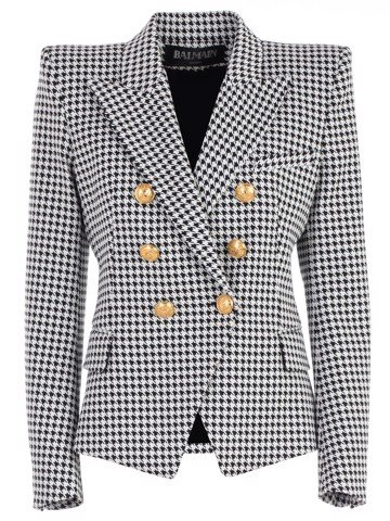 6 BUTTON HOUNDSTOOTH JACKET