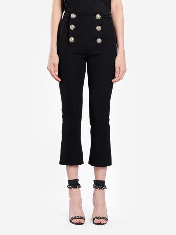 CROPPED FLARED 8 BTN WOOL PANTS