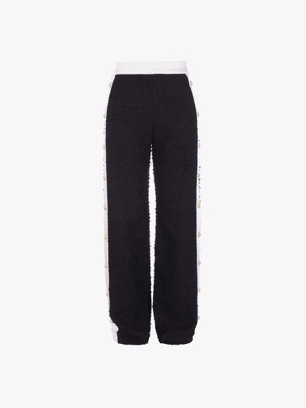 CONTRAST TWEED SIDE BUTTON SWEATPANTS