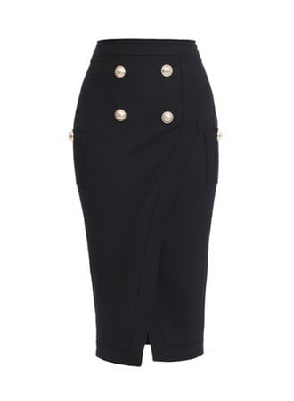 4 BTN SLIT MIDI SKIRT