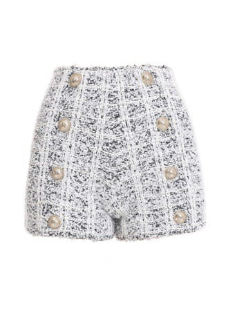 HIGH WAIST 8 BTN TWEED SHORT