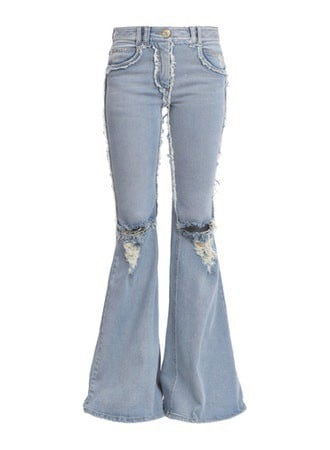 DISTRESSED FRAYED PATCHWORK FLARED JEANS