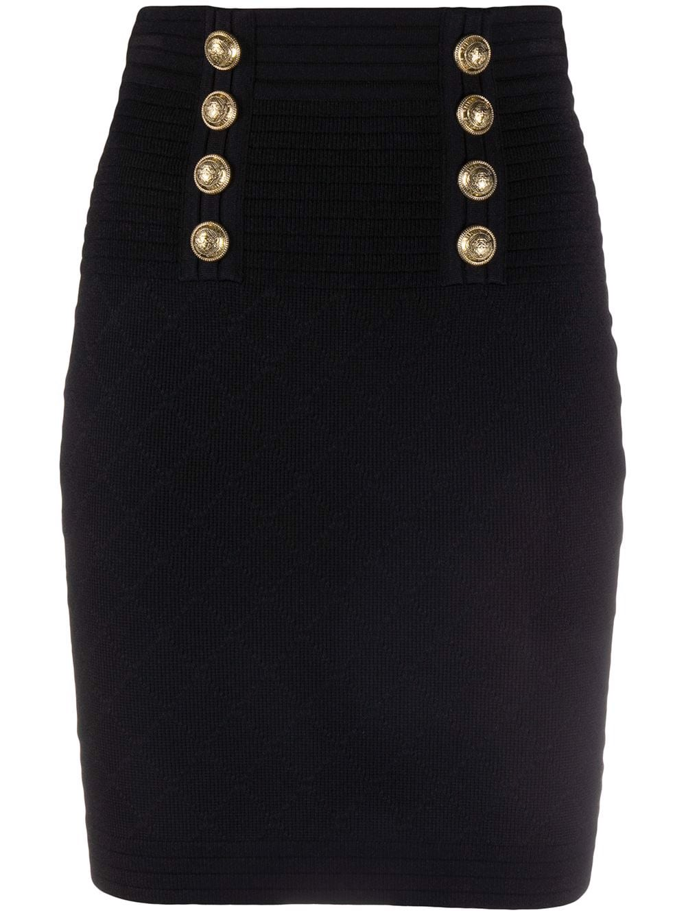 HIGH WAIST 6 BTN DIAMOND KNIT SKIRT