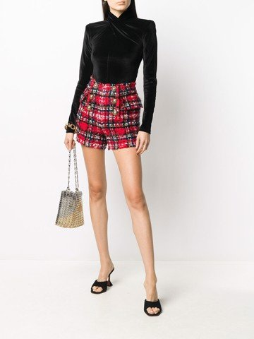 HIGH WAIST 6 BTN TARTAN TWEED SHORTS