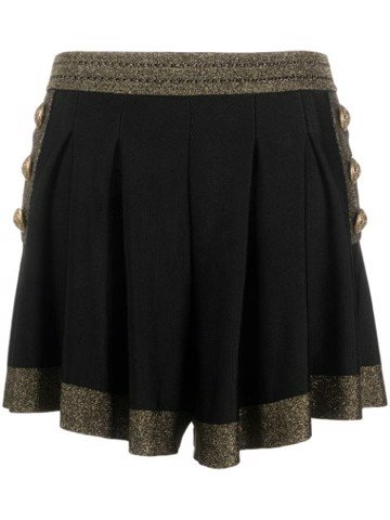 HIGH WAIST METALLIC KNIT PLEATED SHORTS