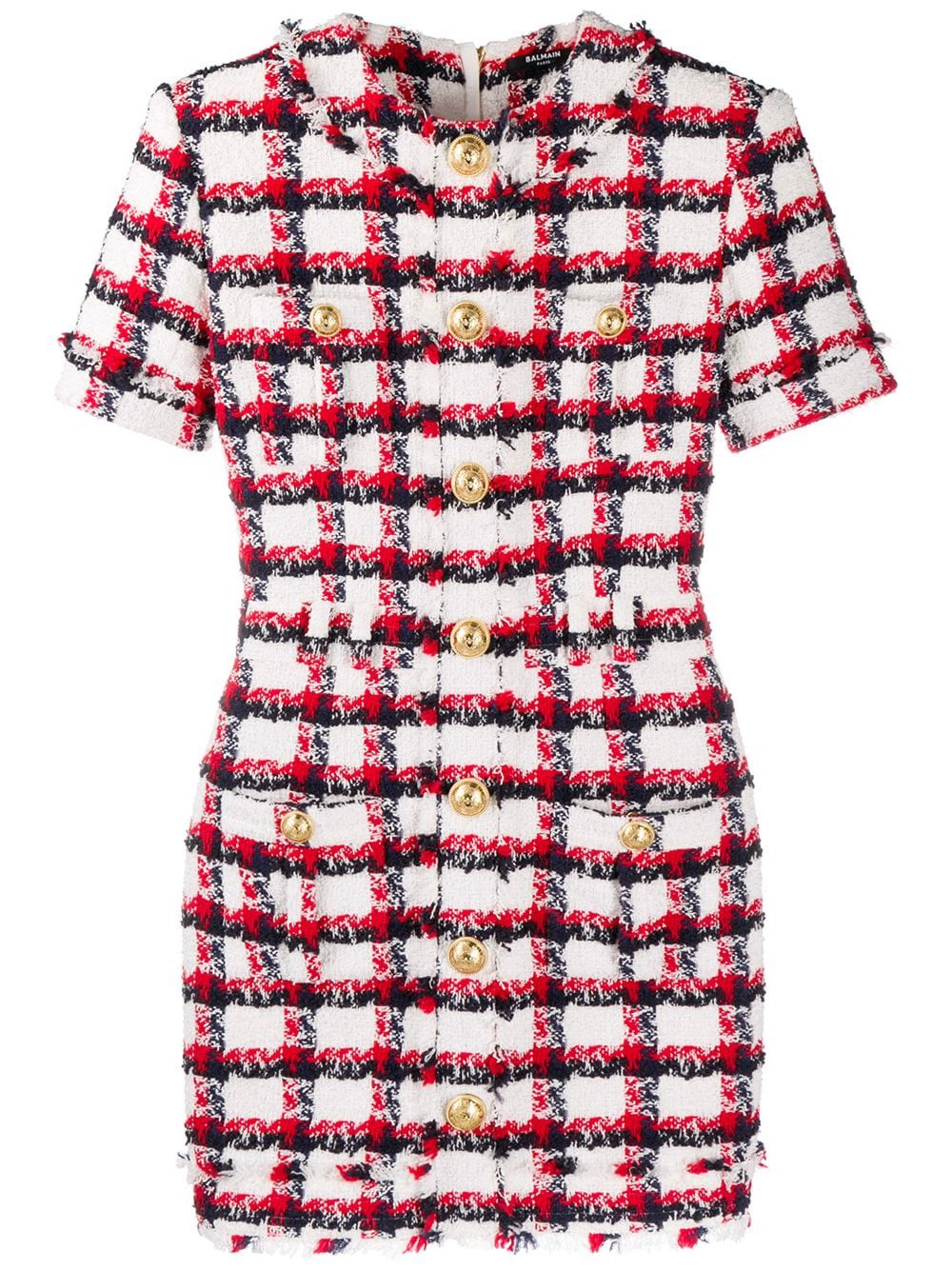 SHORT SS BUTTONED CHECKED TWEED DRESS-VF16127W092