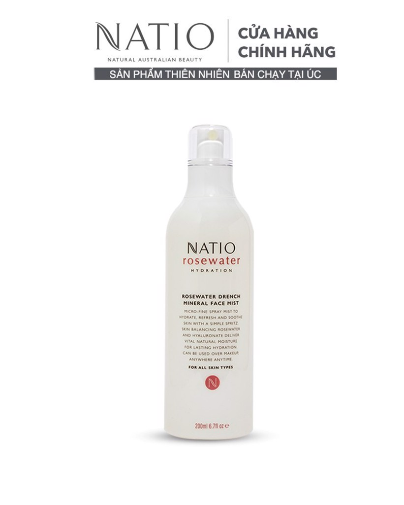Natio Xịt Khoáng Dưỡng Ẩm Da Mặt Rosewater Hydration Rosewater Drench Mineral Face Mist 200ml