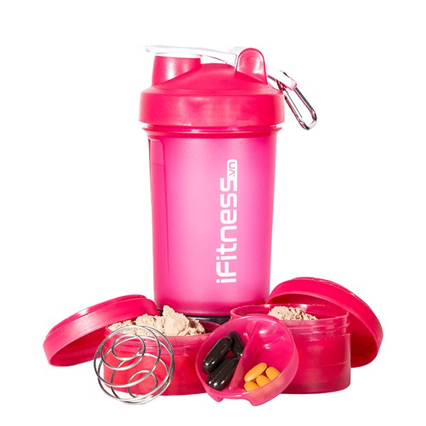 GIFT Bình lắc iFitness Pro Shaker 4-in-1 Cao Cấp - Hồng