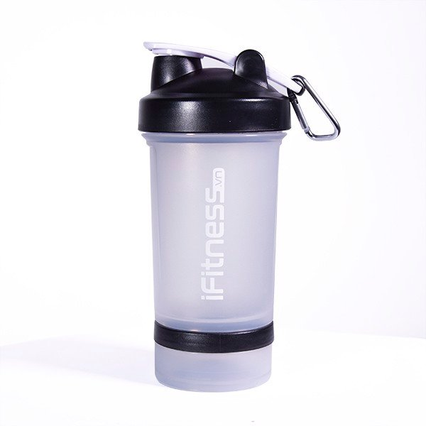 GIFT Bình lắc iFitness Pro Shaker 4-in-1 Cao Cấp - Trắng