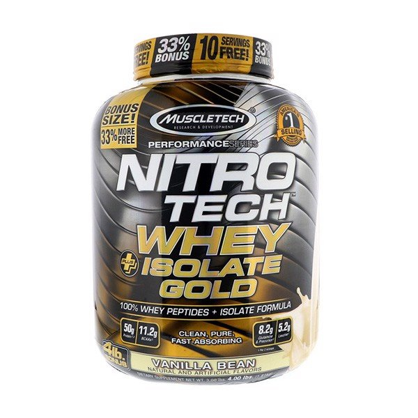 Sữa Tăng Cơ Nitro Tech Whey Plus Isolate Gold 4lbs (1.8kg)
