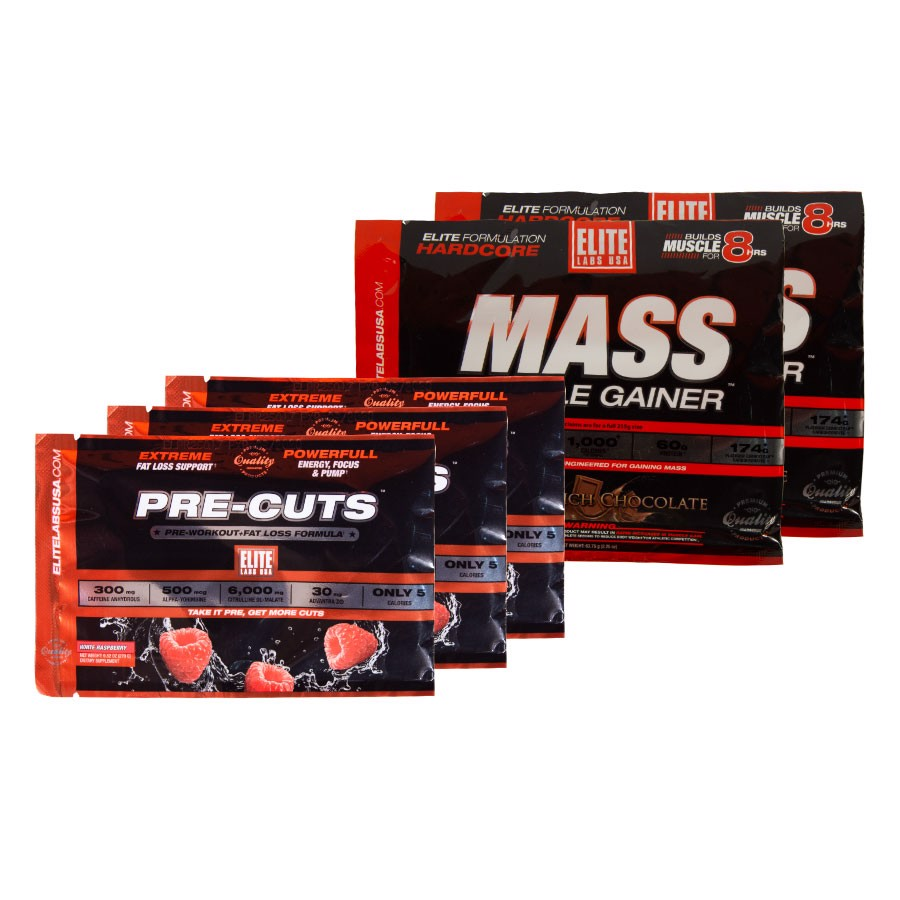 GIFT COMBO 3 mẫu thử của Pre cut + 2 mẫu thử Mass Muscle Gainer