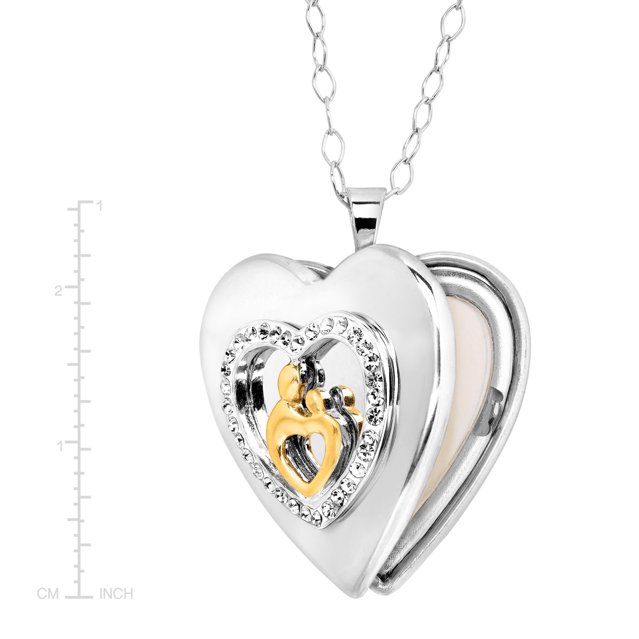 Mother & Child Locket with Swarovski Crystals