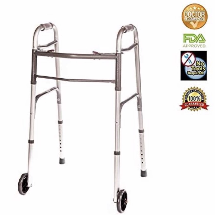 Xe lăn Healthline Walker Folding Deluxe 2 Button