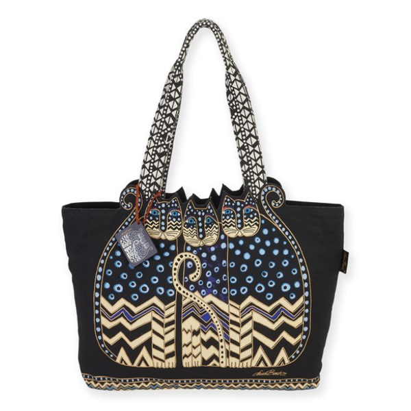 Túi nữ Laurel Burch Black & Blue Polka Dot Cats Tote