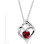 Created Ruby Mother & Child Pendant with Diamond